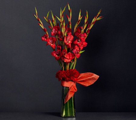 red gladiolus arrangement